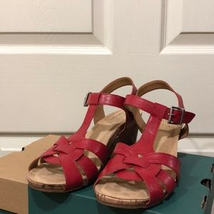 Jaquet Red Wedge Sandal